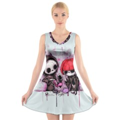 Local Anesthetic V Neck Sleeveless Skater Dress