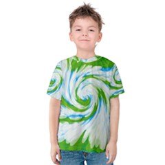Tie Dye Green Blue Abstract Swirl Kid s Cotton Tee
