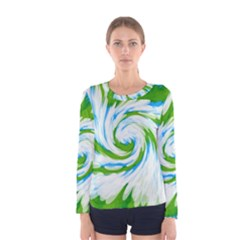 Tie Dye Green Blue Abstract Swirl Women s Long Sleeve Tee