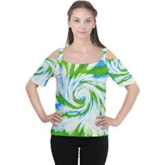 Tie Dye Green Blue Abstract Swirl Women s Cutout Shoulder Tee