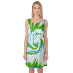 Tie Dye Green Blue Abstract Swirl Sleeveless Satin Nightdress