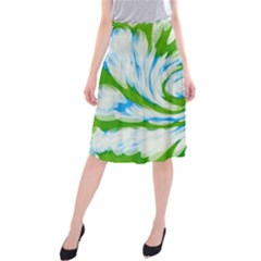 Tie Dye Green Blue Abstract Swirl Midi Beach Skirt