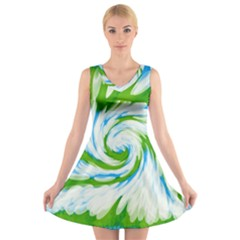 Tie Dye Green Blue Abstract Swirl V-Neck Sleeveless Skater Dress