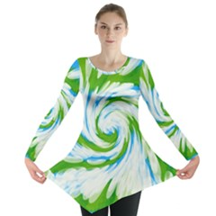 Tie Dye Green Blue Abstract Swirl Long Sleeve Tunic
