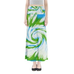 Tie Dye Green Blue Abstract Swirl Maxi Skirts