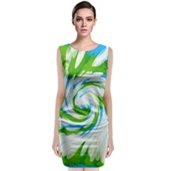 Tie Dye Green Blue Abstract Swirl Classic Sleeveless Midi Dress