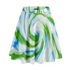 Tie Dye Green Blue Abstract Swirl High Waist Skirt
