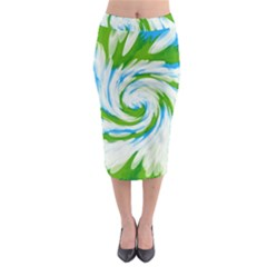 Tie Dye Green Blue Abstract Swirl Midi Pencil Skirt