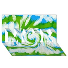 Tie Dye Green Blue Abstract Swirl MOM 3D Greeting Card (8x4)