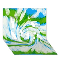 Tie Dye Green Blue Abstract Swirl LOVE 3D Greeting Card (7x5)