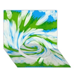 Tie Dye Green Blue Abstract Swirl Circle Bottom 3D Greeting Card (7x5)