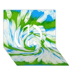 Tie Dye Green Blue Abstract Swirl Peace Sign 3D Greeting Card (7x5)