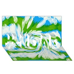 Tie Dye Green Blue Abstract Swirl #1 DAD 3D Greeting Card (8x4)
