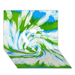 Tie Dye Green Blue Abstract Swirl Ribbon 3d Greeting Card (7x5)