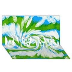 Tie Dye Green Blue Abstract Swirl ENGAGED 3D Greeting Card (8x4)
