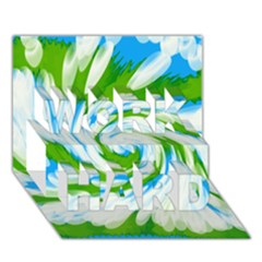 Tie Dye Green Blue Abstract Swirl WORK HARD 3D Greeting Card (7x5)