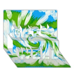 Tie Dye Green Blue Abstract Swirl Get Well 3D Greeting Card (7x5)