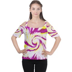 Tie Dye Pink Yellow Swirl Abstract Women s Cutout Shoulder Tee
