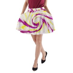 Tie Dye Pink Yellow Swirl Abstract A-Line Pocket Skirt
