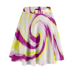 Tie Dye Pink Yellow Swirl Abstract High Waist Skirt