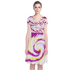 Tie Dye Pink Yellow Swirl Abstract Wrap Dress