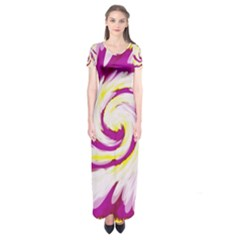 Tie Dye Pink Yellow Swirl Abstract Short Sleeve Maxi Dress