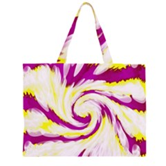 Tie Dye Pink Yellow Swirl Abstract Large Tote Bag