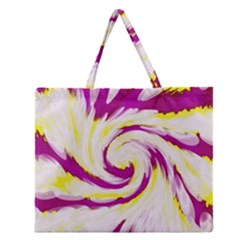 Tie Dye Pink Yellow Swirl Abstract Zipper Large Tote Bag
