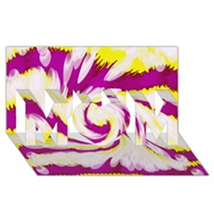 Tie Dye Pink Yellow Abstract Swirl MOM 3D Greeting Card (8x4)