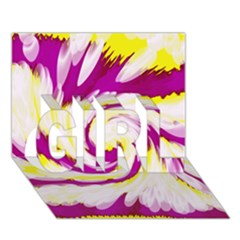 Tie Dye Pink Yellow Abstract Swirl GIRL 3D Greeting Card (7x5)