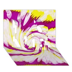 Tie Dye Pink Yellow Abstract Swirl LOVE 3D Greeting Card (7x5)