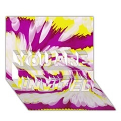 Tie Dye Pink Yellow Abstract Swirl You Are Invited 3d Greeting Card (7x5)