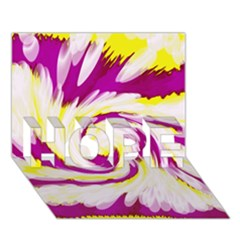 Tie Dye Pink Yellow Abstract Swirl HOPE 3D Greeting Card (7x5)