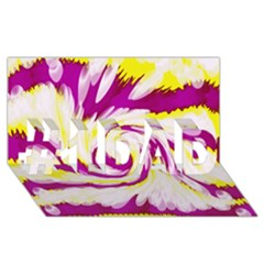 Tie Dye Pink Yellow Abstract Swirl #1 DAD 3D Greeting Card (8x4)