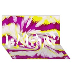 Tie Dye Pink Yellow Abstract Swirl PARTY 3D Greeting Card (8x4)