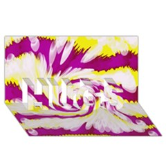 Tie Dye Pink Yellow Abstract Swirl HUGS 3D Greeting Card (8x4)