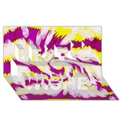 Tie Dye Pink Yellow Abstract Swirl Best Wish 3d Greeting Card (8x4)