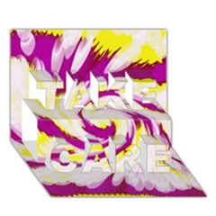 Tie Dye Pink Yellow Abstract Swirl TAKE CARE 3D Greeting Card (7x5)