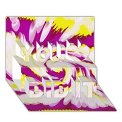 Tie Dye Pink Yellow Abstract Swirl You Did It 3D Greeting Card (7x5)