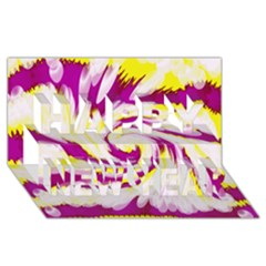 Tie Dye Pink Yellow Abstract Swirl Happy New Year 3D Greeting Card (8x4)