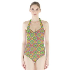 Modern Colorful Geometric Women s Halter One Piece Swimsuit