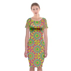 Modern Colorful Geometric Classic Short Sleeve Midi Dress