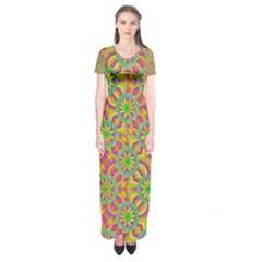 Modern Colorful Geometric Short Sleeve Maxi Dress