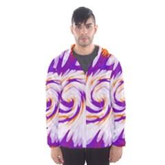 Tie Dye Purple Orange Abstract Swirl Hooded Wind Breaker (Men)