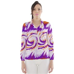 Tie Dye Purple Orange Abstract Swirl Wind Breaker (Women)