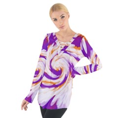 Tie Dye Purple Orange Abstract Swirl Women s Tie Up Tee