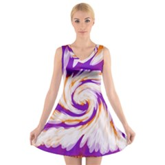 Tie Dye Purple Orange Abstract Swirl V-Neck Sleeveless Skater Dress