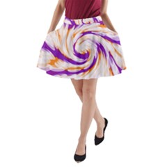 Tie Dye Purple Orange Abstract Swirl A-Line Pocket Skirt