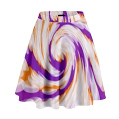 Tie Dye Purple Orange Abstract Swirl High Waist Skirt