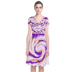 Tie Dye Purple Orange Abstract Swirl Wrap Dress